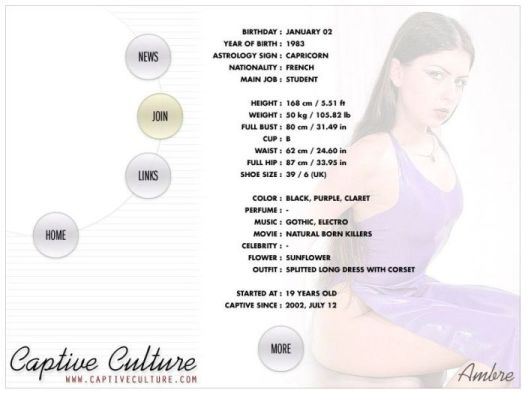 Screen Capture of the Models Page - Ambre