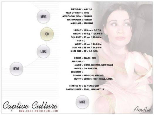 Screen Capture of the Models Page - Amelie