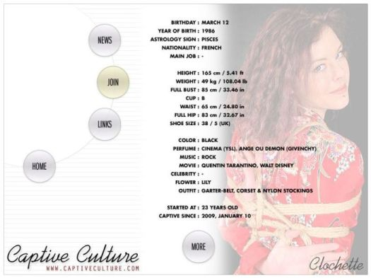 Screen Capture of the Models Page - Clochette