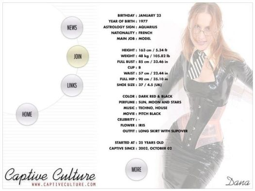 Screen Capture of the Models Page - Dana Carlier