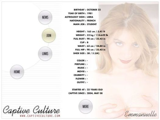 Screen Capture of the Models Page - Emmanuelle