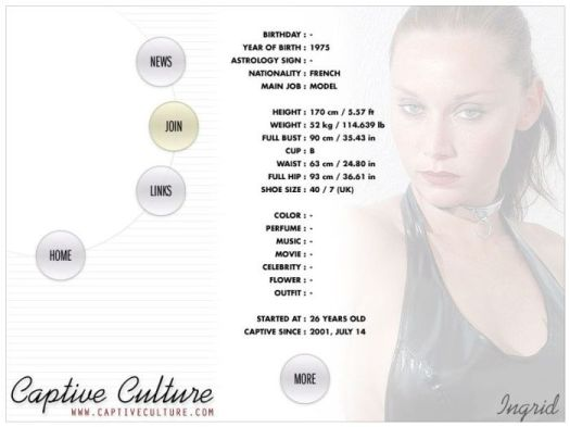 Screen Capture of the Models Page - Ingrid