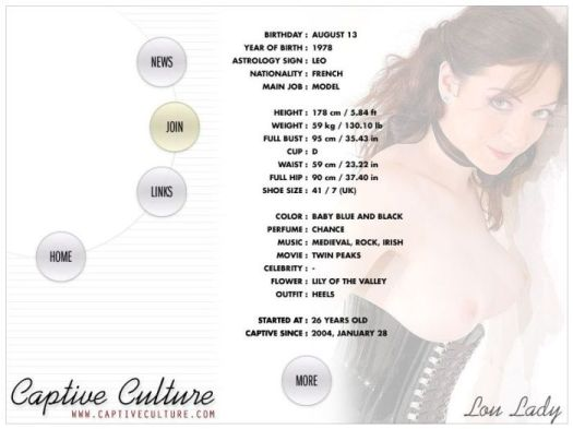 Screen Capture of the Models Page - Lou Lady
