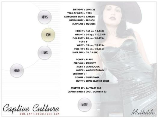 Screen Capture of the Models Page - Mathilde