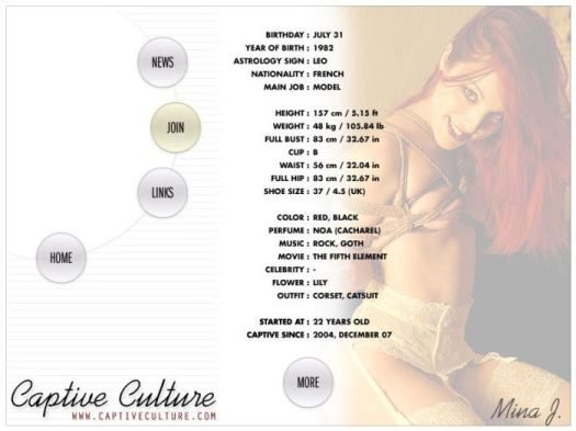 Screen Capture of the Models Page - Mina J.