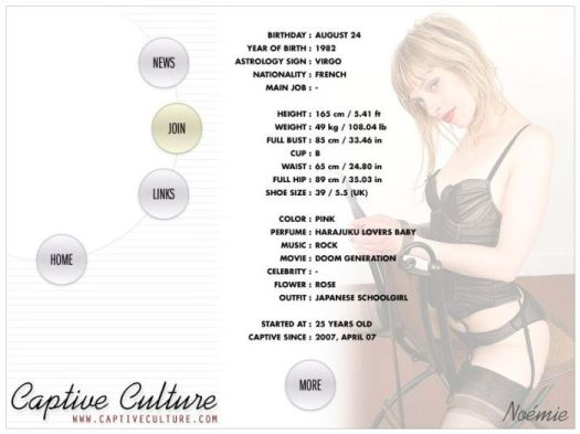 Screen Capture of the Models Page - Noemie