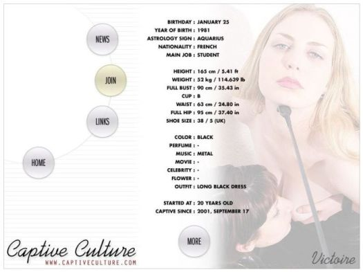 Screen Capture of the Models Page - Victoire