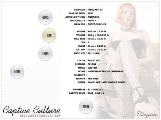 Screen Capture of the Models Page - Virginie