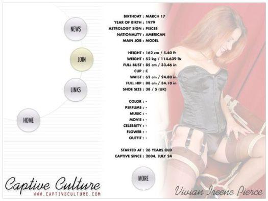 Screen Capture of the Models Page - Vivian Ireene Pierce